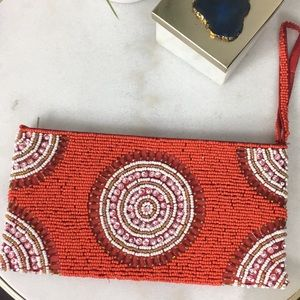 Clutch/Purse Beaded Red/White-South African